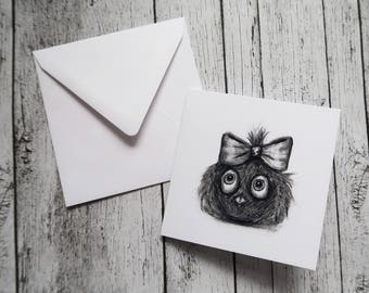 Cute Owl With A Bow Greeting Card