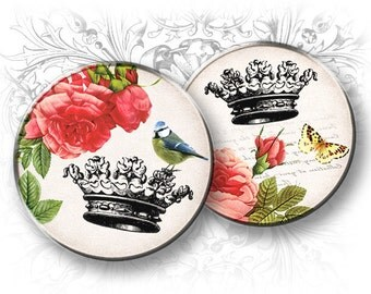 Roses and Crowns 2 Inch Round Images Digital Collage Sheet Download and Print 2 inch circles Crown vintage Printables Instant download Rose