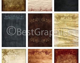ACEO Cards Digital Collage Sheet A4 Download and Print Old Papers II 9 Backgrounds Old Paper Vintage Paper Sheets Digital Paper for print