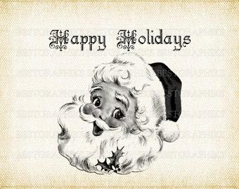 Happy Holidays Santa Claus Iron on Transfer Fabric Transfer Clip Art