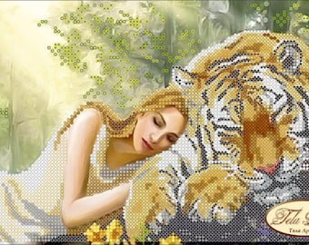 Small Bead Art Pictures, Tiger or Pink Twig Bag.