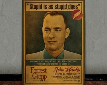 Forrest Gump, Tom Hanks, Colored retro classic movie poster