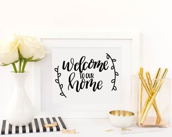 Hand Lettered Welcome to our Home SVG PNG JPEG Cutting file Instant Download Cricut Silhouette Cutting File