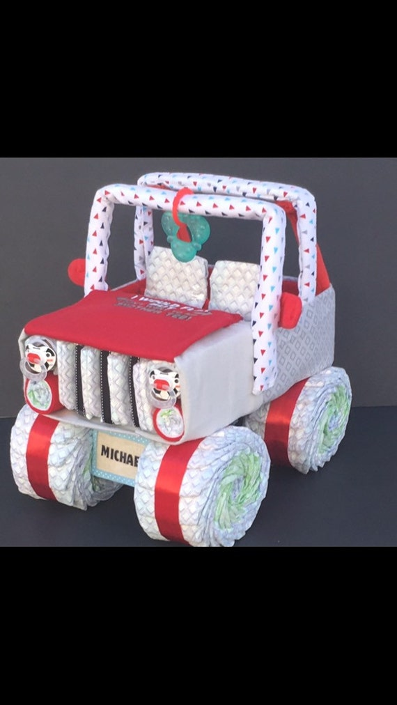 Red Jeep Diaper Cake Jeep Baby Shower Unique Diaper Cake