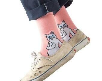 Pink ripndip inspired skate socks