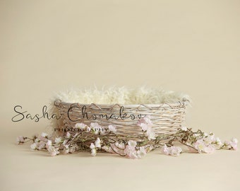 Digital background backdrop green flowers off white newborn girl or toddler white basket cherry blossoms pink cream