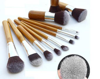 Vegan Makeup Brushes Eco Bamboo Natural 11 Pieces (Cruelty Free ) In Cotton Pouch Gift