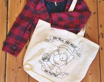 Milhouse Van Houten 'No milk. No meat. No masters' Vegan tote/shopper bag