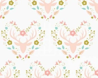 Antlers in White ~ Meadow Collection by Camelot Fabric ~ Weave & Woven