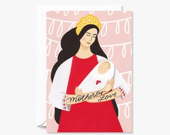 Motherly Love Card for Mother's Day or New Mom  | Illustrated Greeting Card