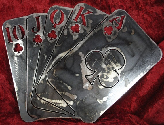 Lg. Straight of Clubs, Cards, Suits, Card Suits, Metal Lg. Straight, Poker, Poker Run, Texas Hold Em, Casino Decor, Metal Poker Cards, Gift