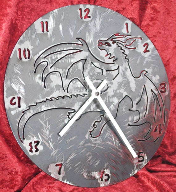 Dragon, Dragon Wall Clock, Metal Clock, Fantasy Art, Fantasy Clock Wall Art, Home Decor Clock, Handmade Clock, Gift for Her, Gift for Him