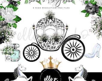 Elle's Fairytale Themed Clipart Bundle by Elle P. Studio / Floral Clipart / Princess Clipart