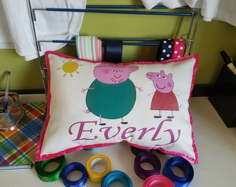 Peppa Pig and Daddy Personalized Pillow