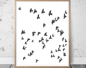 Birds Print, Printable Photo, birds abstract,Flying Birds Print, Flock Of Birds Wall Art, Minimalist Decor, Black And White Photo, Sea Print