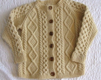 Aran Wool Cable Knit Sweater Cardigan Jumper Hand Knit youth