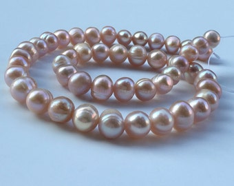 1Full Strand Freshwater Pearl Beads, Pink Freshwater Pearl,Natural Pearl Jewelry Approx 8-9mm