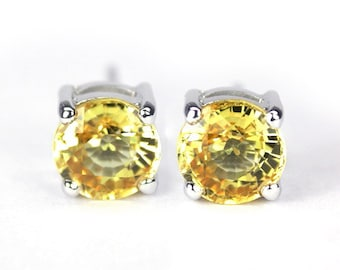 3.08 ct yellow sapphire earring silver sterling natural sapphire.