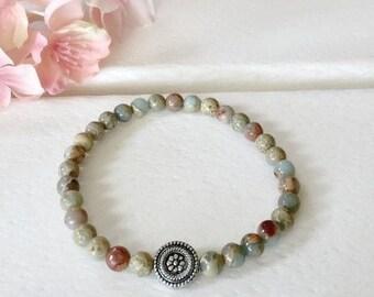 Aqua Terra Jasper Bracelet, 6mm beaded bracelet