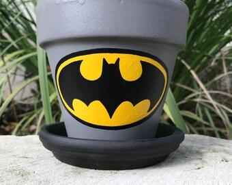 Bat Pot hand painted flower pot