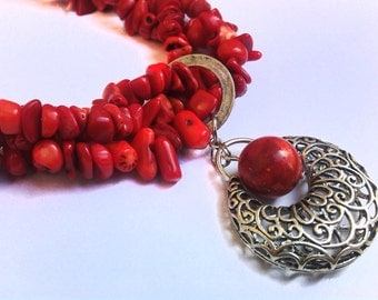 Red Coral Necklace, Coral Chips Necklace, Chunky Red Necklace, Openwork Fantasy Pendant, Genuine Coral, Gift
