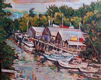 "Original Oil Painting, Summer Harbor, 20""x20"", impressionist, thick oil textured, 1612271"