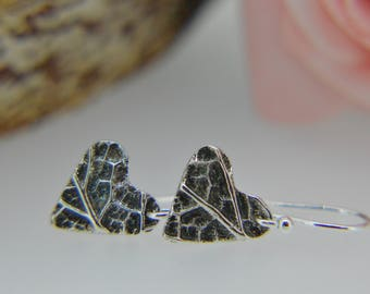 Silver Heart Earrings, Silver Heart Earrings, Dangly Earrings, Drop Earrings, Silver heart Dangly Earrings, Leaf Textured Heart (UK)