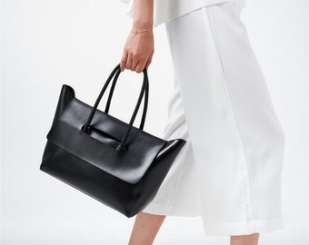 Minimalist Womens Work Tote Handbag Black Genuine Leather