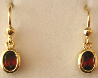 Genuine Solid 9ct Yellow Gold January Birthstone Oval Garnet Hook Earrings