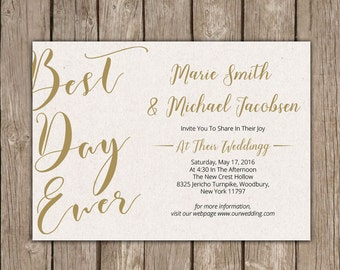 Printable Wedding Invitation. Wedding invitation template . Wedding Invitation. Wedding Invitation. Best Day Ever Wedding Card. .