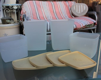 1970's 80's Vintage Tupperware Square Freezer Mates - Set of Four ( 4 ) - 2 #1311 and 2 #312 with 4 Almond lids - Good Condition