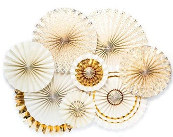 Gold and Ivory Fans, Wedding Paper Fans, Wedding Fans, Wedding Decor,Gold and Ivory Decor,Bridal Decor, Bridal Shower Decor, Gold Paper Fans