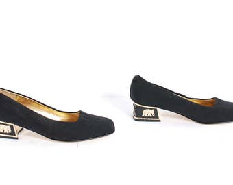 Vintage 90s Black and Gold ELEPHANT Square Toe CHUNKY Low Heel PUMPS