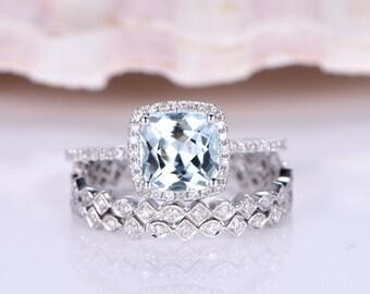 Wedding Ring Set,Aquamarine Engagement Ring,7mm Cushion Cut Aquamarine Ring,SH-I Diamond Matching Band,Diamond Wedding Band,14K white gold