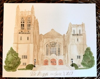 Custom Watercolor Portrait- Wedding Venues- Churches- Places-Locations- Brush Lettering- And More