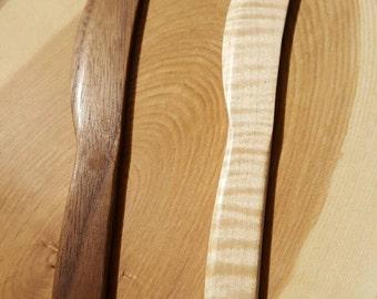 Wooden Spreader knife. Handmade. Cheese knife. Black Walnut, Curly Maple.