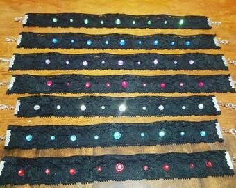 Black Lace Jewelled Choker