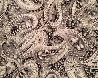 By The HALF YARD - Misty Light by Yuko Hasegawa for RJR Fabrics, Pattern #1230-4 Packed Tonal Gray & Black Floral Paisley
