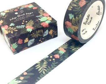 Black Floral Washi Tape Summer Flowers