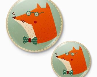 Mr Fox - pocket mirror and pin