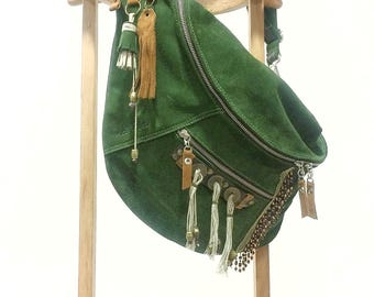 Bag Togo green suede with coins