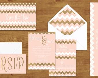 Blush Pink and Rose Gold Wedding Invitations Stationery Set - Printed or Digital Download - Blush Wedding - Rose Gold - Wedding Printable