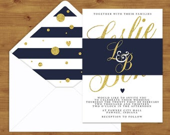 Navy, White and Gold Belly Bands and Envelope Liners - Navy Wedding - Nautical Wedding - Wedding Invitation Extras - Wedding Stationery
