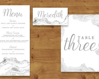 Marble Place Cards, Table Numbers, Menu Cards - Marble Wedding - Minimalist Wedding - Table Name - Name Card - Wedding Stationery