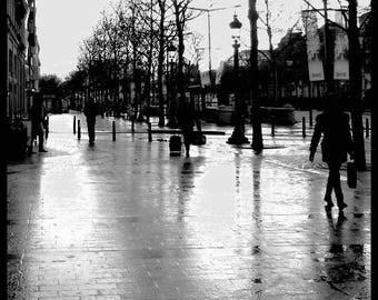 Photographie de Paris noir et blanc effet nacré scintillante Paris Anonyme 30 cm x 30 cm