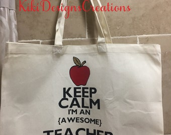 Teacher Gift, Teacher Tote Bag, Canvas Tote Bag, Keep Calm and Teacher On, Market Bag, Shopping Bag, Reusable Grocery Bag