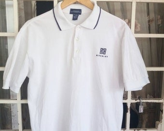 Vintage Givenchy polo tee spellout/white/large/made in usa/givenchy paris/milan