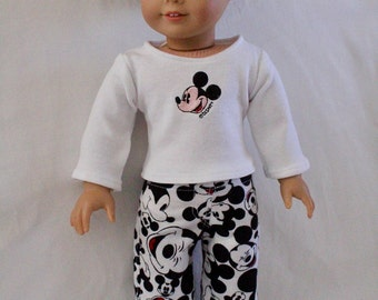 Back in Stock Disney Mickey Pajamas, PJ's, Top and Bottoms, American Boy Doll Clothes or American Girl Doll Clothes, 18 Inch Doll, Embroider