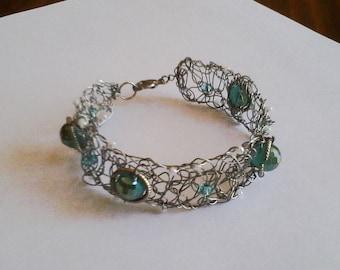 Sea Green bracelet - Green Silver - Crochet Wire Jewelry - Trixified