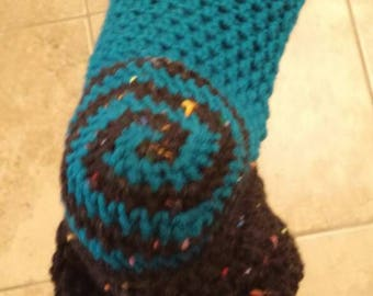 Teal and speckled black crochet slipper socks.